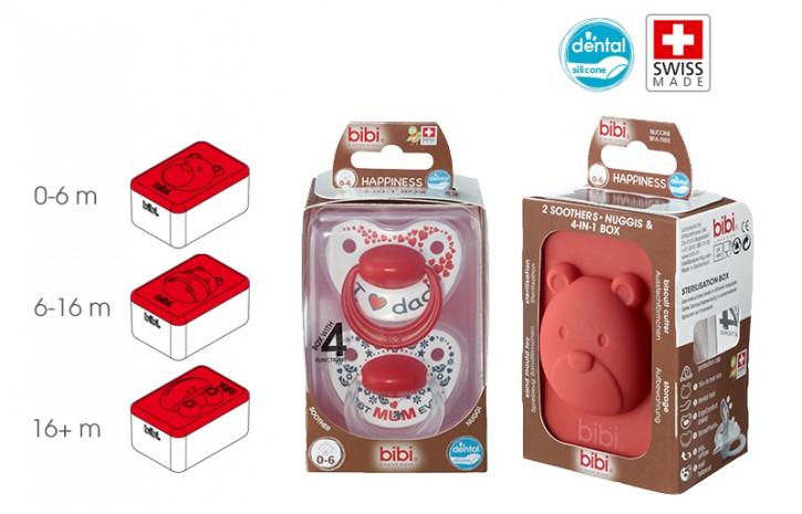 bibi Happiness Dental Premium Duo mit 4 in 1 Box Geschenkeset Mama Papa Mum Dad
