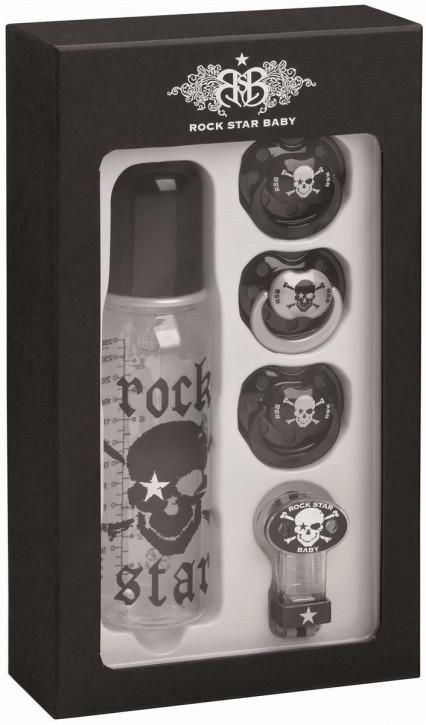 Rockstarbaby RSB Rock Star Baby Geschenkeset Sauger Flasche Schnullerband