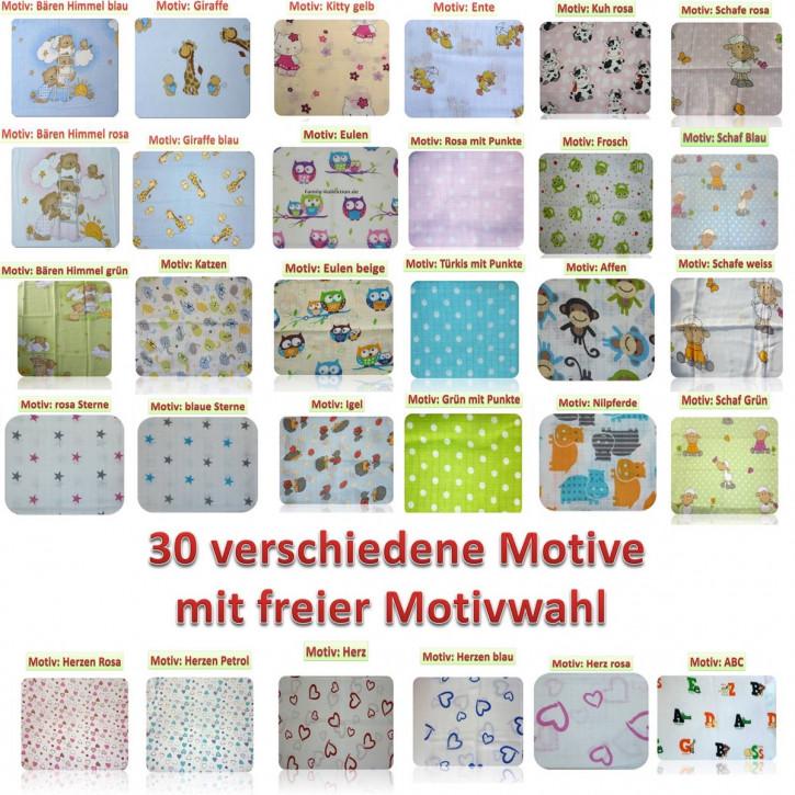 Mullwindeln bedruckt 5er Pack bunt Spucktücher Stoffwindeln 70x80 Baumwolle NEU