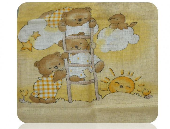 Mullwindel 5 St. bunt Stoffwindel Spucktuch 70x80 mit dem Motiv: Bären Himmel Gelb