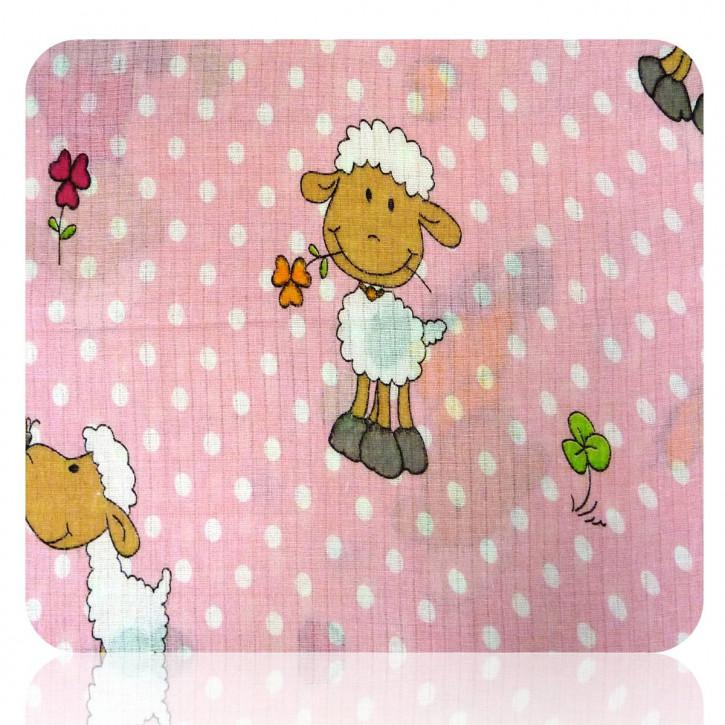 Mullwindel 5 St. bunt Stoffwindel Spucktuch 70x80 mit dem Motiv: Schafe Rosa