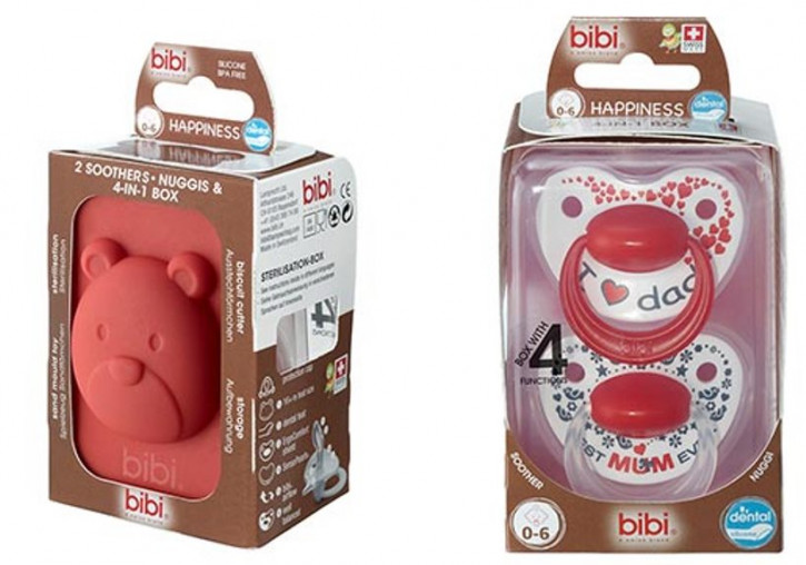 bibi Happiness Dental Premium Duo mit 4 in 1 Box (0-6 Monate) Geschenkeset Mama Papa Mum Dad