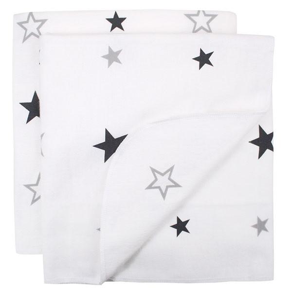 Moltontücher 2er-Pack Sterne grau