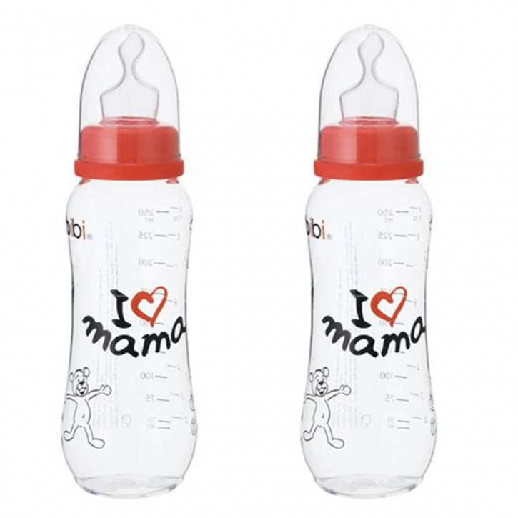 I love Mama Babyflasche mit Silikonsauger 250 ml (Doppelpack)