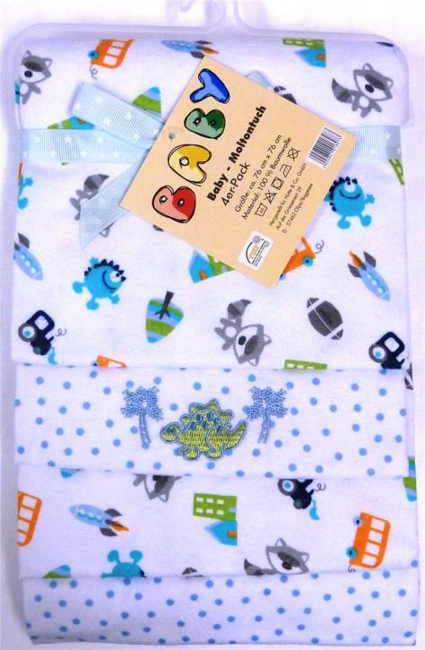 Baby Moltontuch Mullwindel Mullwücher 76x76 cm 100% Baumwolle I 4 x Baumwolle Mulltücher Ökotex Standard I Baumwollwindeln Stoffwindeln Set I (Jungenmotive)
