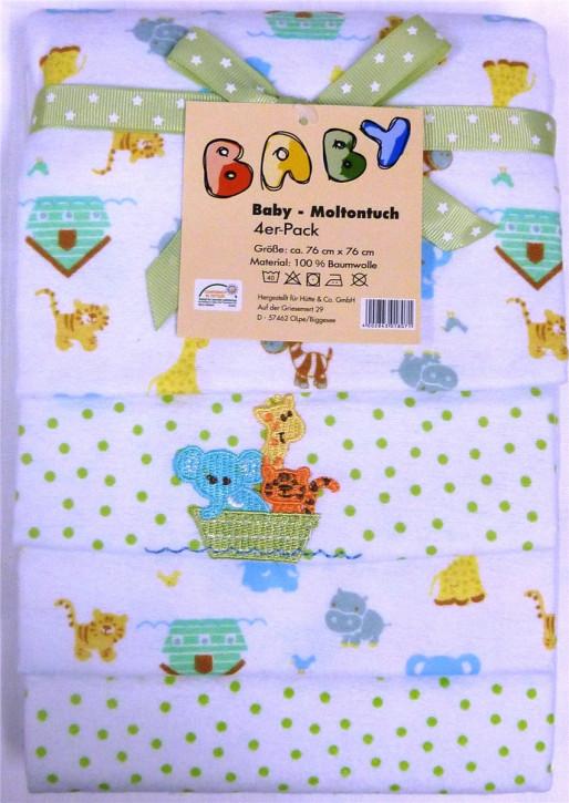 Baby Moltontuch Mullwindel Mullwücher 76x76 cm 100% Baumwolle I 4 x Baumwolle Mulltücher Ökotex Standard I Baumwollwindeln Stoffwindeln Set I (Arche Noah)